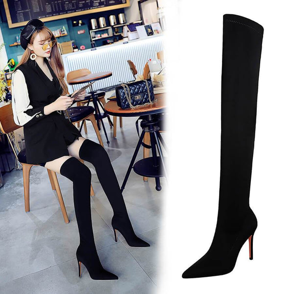 Black Lycra Point Toe Stretch High Heel Over Knee Boots