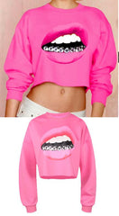 Casual 3D Mouse Tooth Print Long Sleeves Crop Top - Oh Yours Fashion - 2