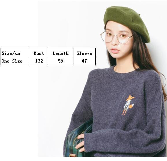 Embroidery Loose Puff Sleeve Sweater - Oh Yours Fashion - 5