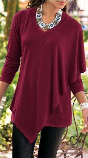 V-neck Pure Color False Two Picture Cloak Blouse - Oh Yours Fashion - 2