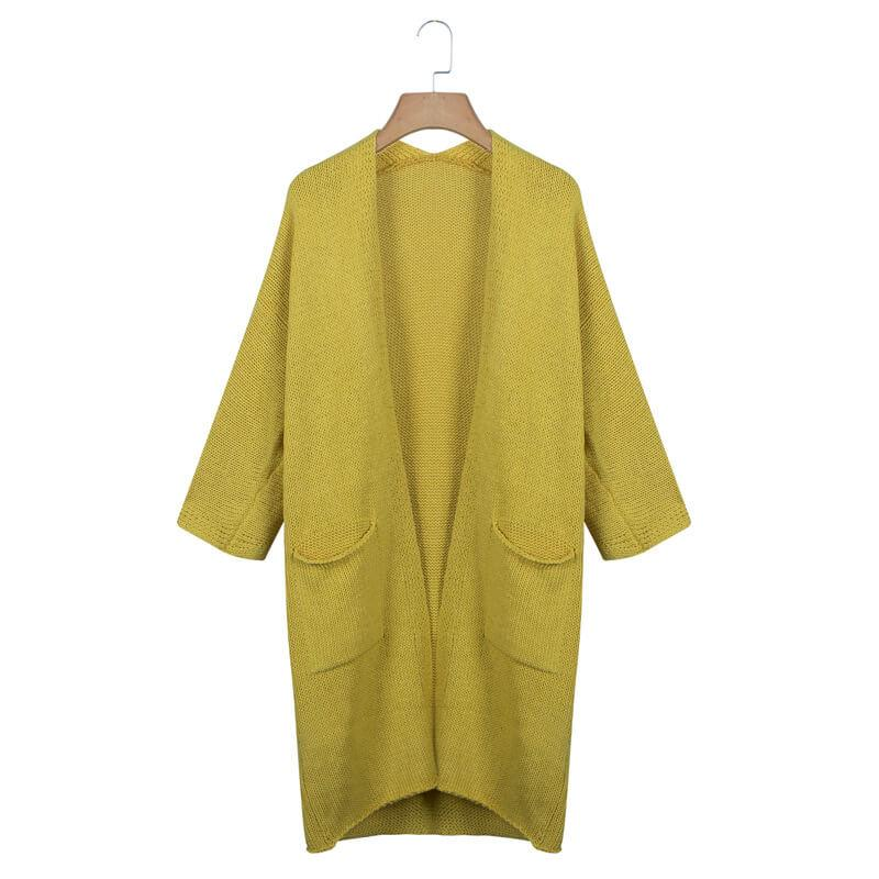 Open Front Pockets Knit Long Cardigan