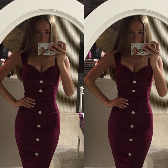Spaghetti Straps Sheath Single Breasted Bodycon V-neck Short Dress - Oh Yours Fashion - 1