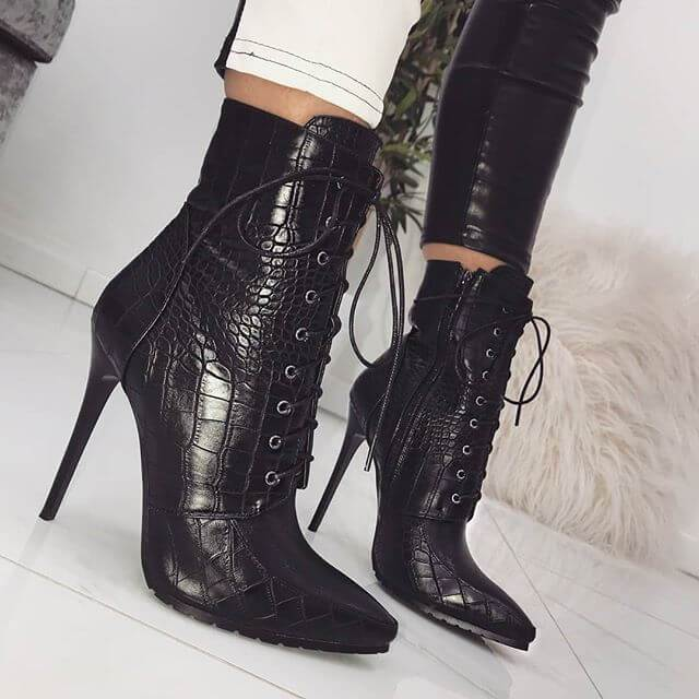 Black Lace Up High Heel Pointed Calf Boots