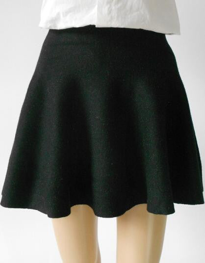 Fashion Knit Pleated Pure Color A-line Mini Skirt - Oh Yours Fashion - 1