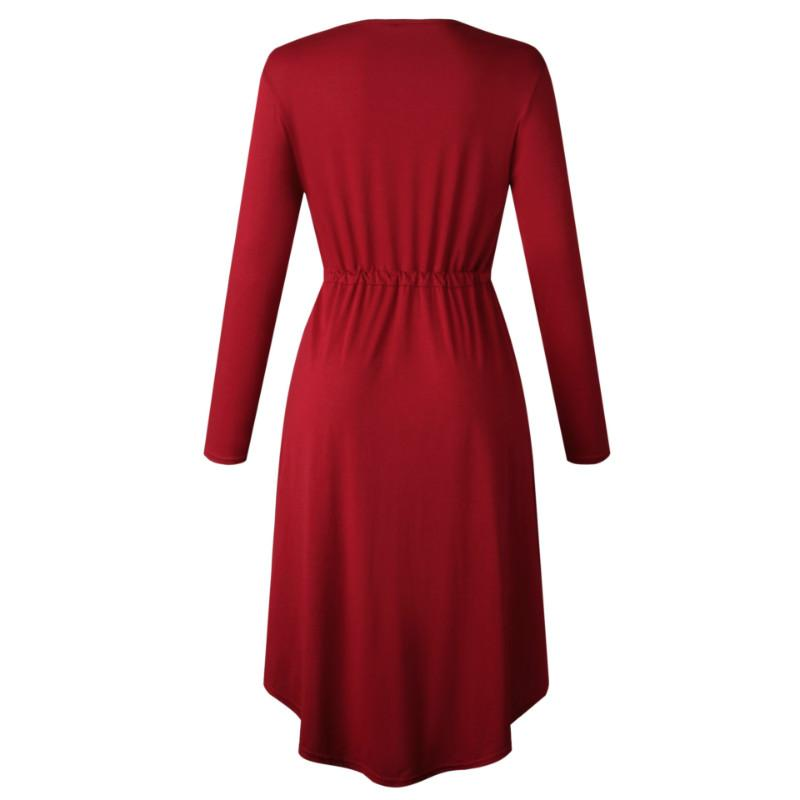 OL Tie Waist Pure Color Midi Dress