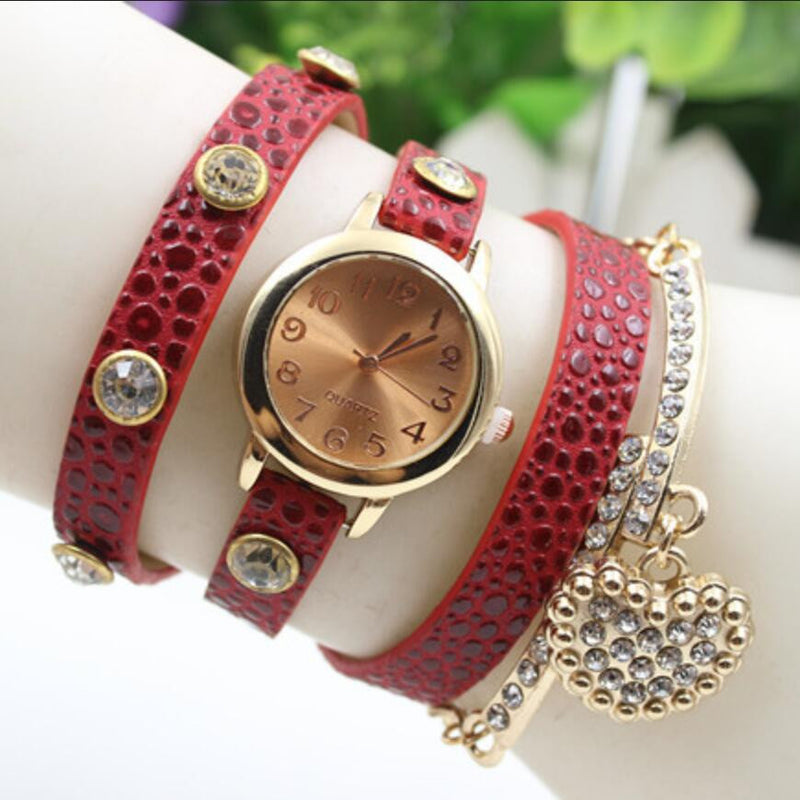 Crystal Heart PU Strap Wristwatch - Oh Yours Fashion - 2