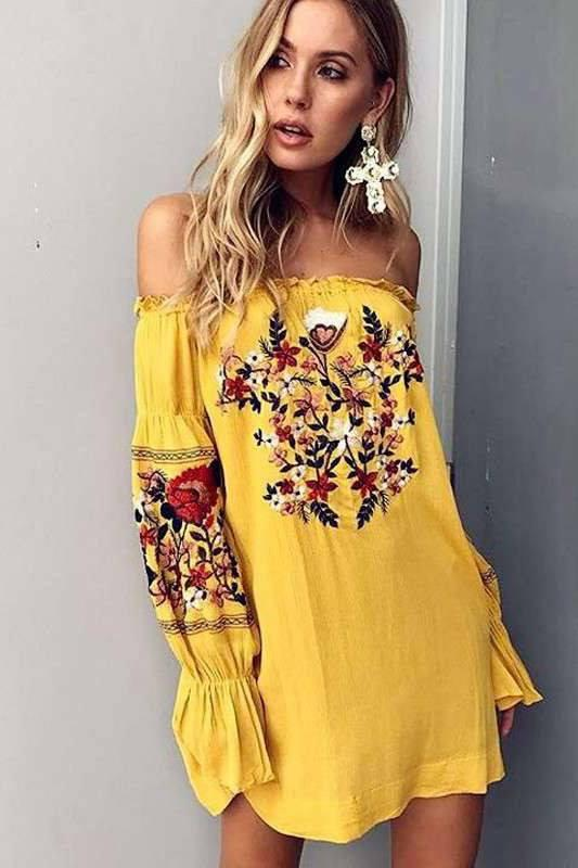 Embroidery Off Shoulder Long Trumpet Sleeves Short Beach Dress