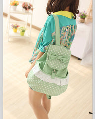 Sweet Polka Dot Lace Bowknot School Backpack Travel Bag - Oh Yours Fashion - 3