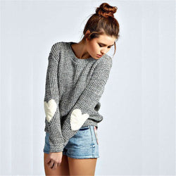 Print Long Sleeves Heart Applique Scoop Regular Sweater