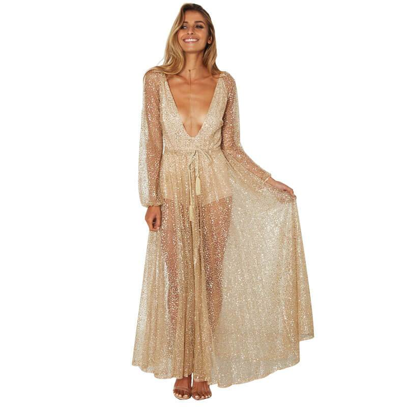 Champagne Sequin Deep V Neck Maxi Dress