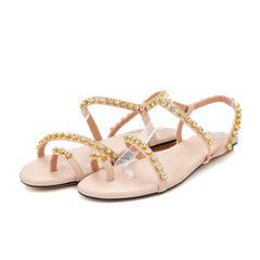 Handmade Bridal Ancient Greek Rhinestone Flat Sandals - Oh Yours Fashion - 5