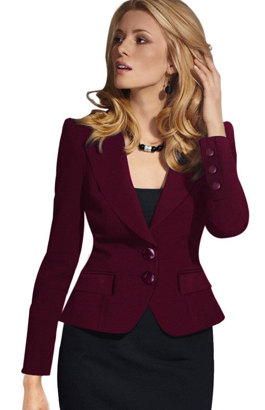 Slim Double Button Deep V-neck Turn-down Collar Short Blazer - Oh Yours Fashion - 1