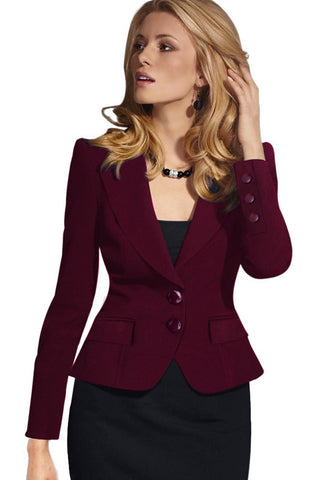 Slim Double Button Deep V-neck Turn-down Collar Short Blazer