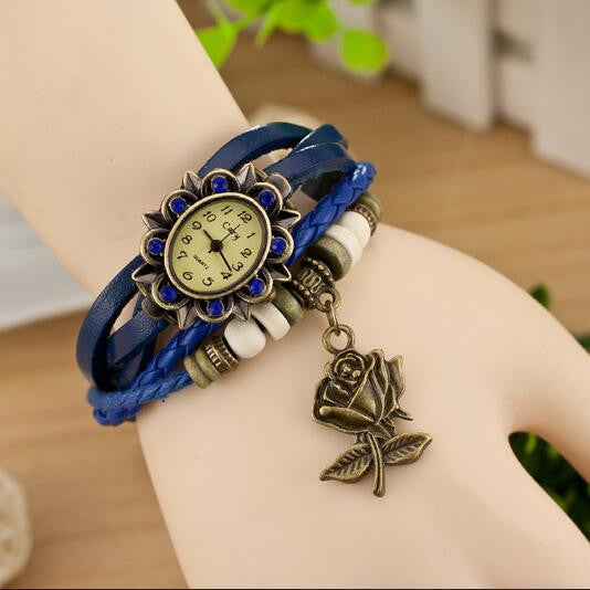 Retro Style Rose Pendant Multilayer Watch - Oh Yours Fashion - 4
