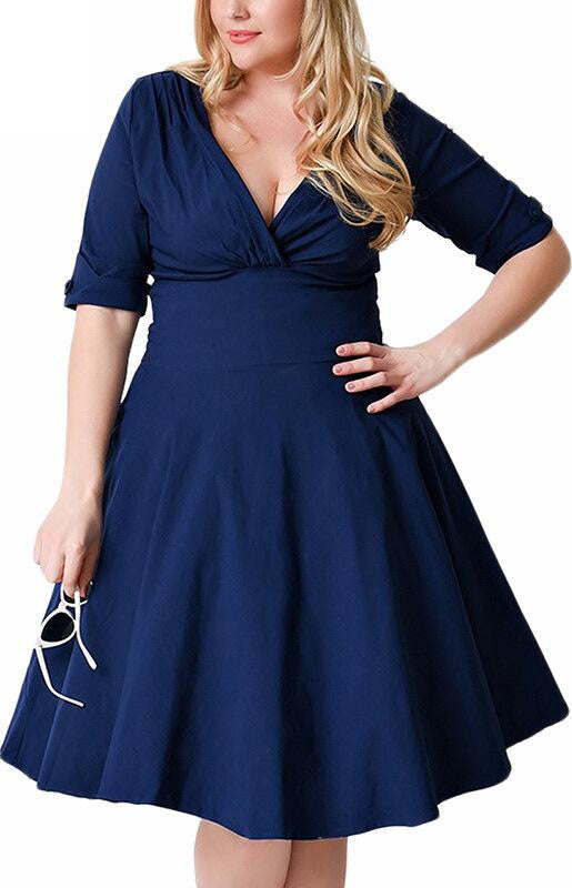 Plus Size Deep V Neck A-Line 1/2 Sleeve Elastic Knee-Length Dress - Oh Yours Fashion - 2