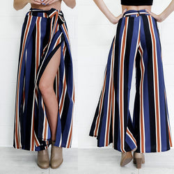 Multicolor Stripes Printed Side Split High Waist Wide Leg Pants - Oh Yours Fashion - 1