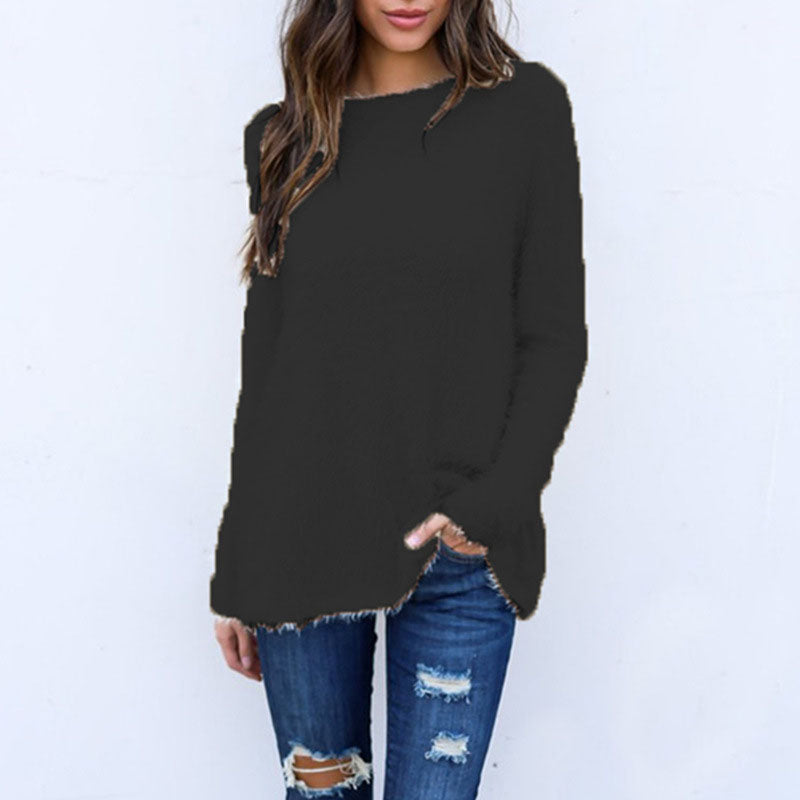 Pure Color Oversized Feather Pullover Sweater