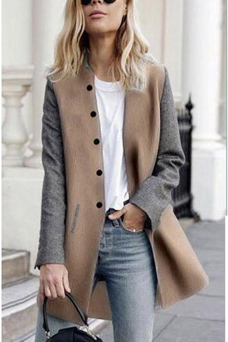 Slim Buttons Long Sleeve Stand Collar Patchwork Coat
