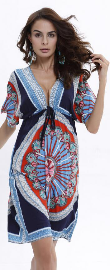 Plus Size Print V Neck Drawstring Loose Short Beach Dress - Oh Yours Fashion - 2