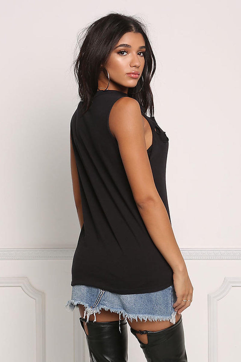 Hole Pure Color Deep V-neck Tank Top