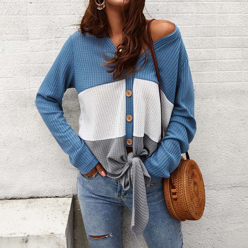 Colorblock V Neck Button Up Knit Sweater