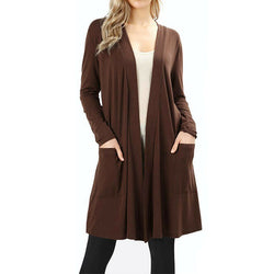 Slim Open Front Long Cardigan