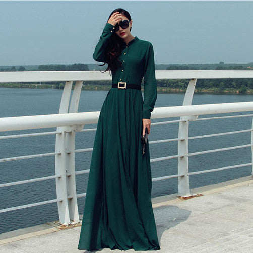 Long Sleeves Chiffon Button Decorate Pleat Long Maxi Dress - O Yours Fashion - 3