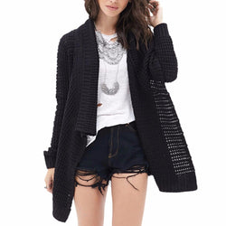 Leisure Hollow-Out Irregular Ladies Knitted Cardigan - Oh Yours Fashion - 2