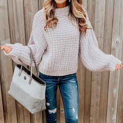 Mock Neck Balloon Sleeve Chunky Crochet Sweater