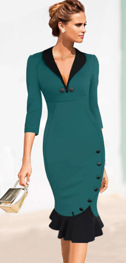 Deep V-neck Slim Mermaid Knee-length Office Dress - Meet Yours Fashion - 2