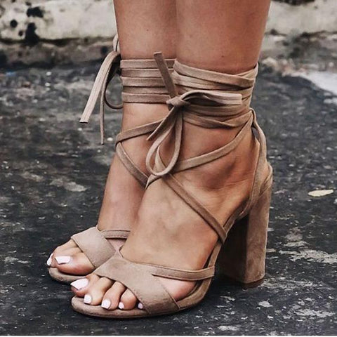 Open Toe Ankle Wraps Lace Up Chunky Heels Sandals