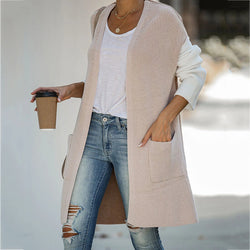 Loose Colorblock Patchwork Knit Cardigan Coat