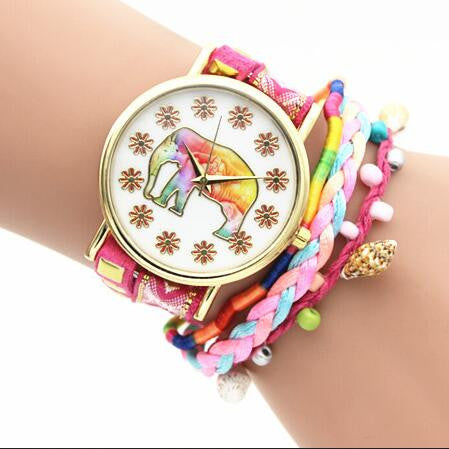 Elephant Print Colorful Strap Watch - Oh Yours Fashion - 1