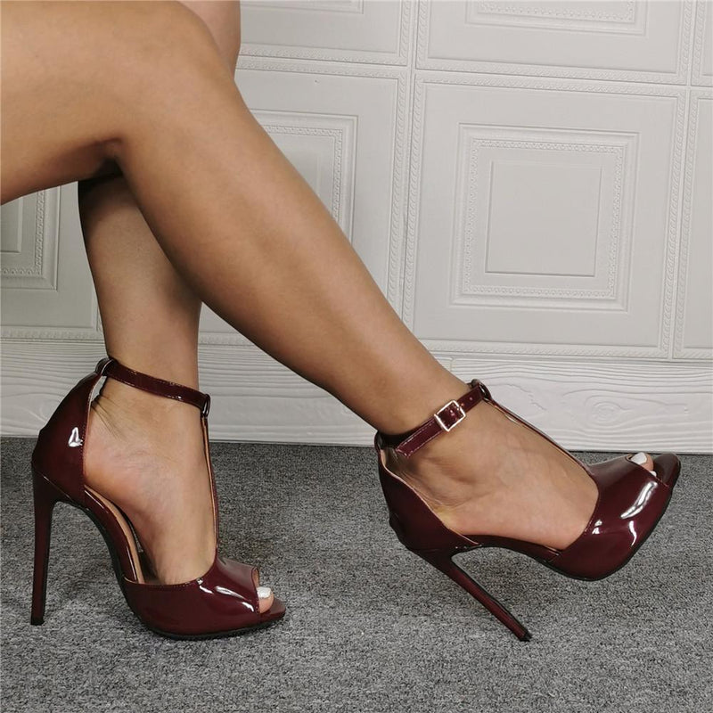 Patent Leather Peep Toe Buckle Plain High Heel Sandals