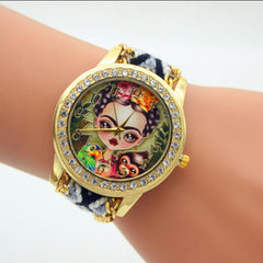 Beauty Girl Print Knitting Wool Strap Watch - Oh Yours Fashion - 2