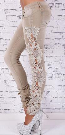 Lace Patchwork Straight Low Waist Sexy Jeans - Oh Yours Fashion - 2