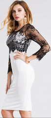 Beautiful Lace Stitching Knee-length Pencil Dress - Oh Yours Fashion - 2