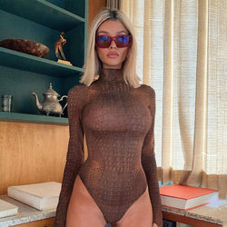 Crocodile Print Turtleneck Long Sleeves Thong Bodysuit