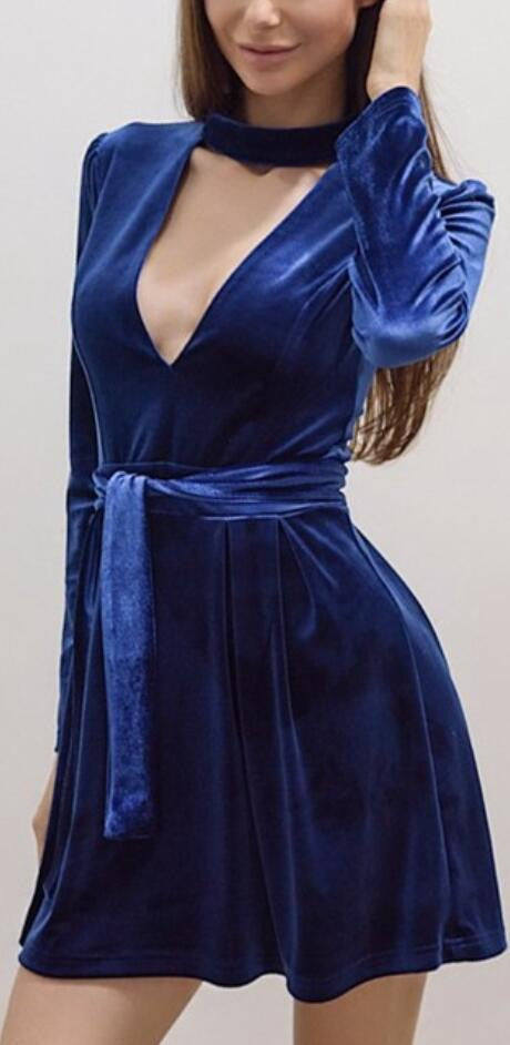 Sexy Blue V Halter Pleuche Belt Dress - Oh Yours Fashion - 2