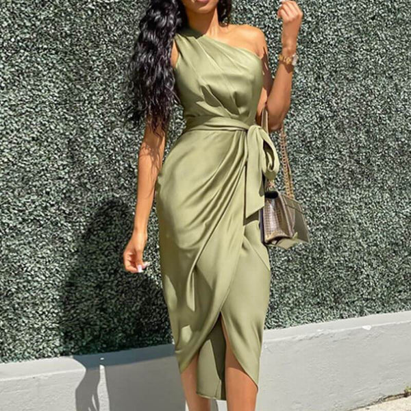 One Shoulder Tie Waist Satin Dress