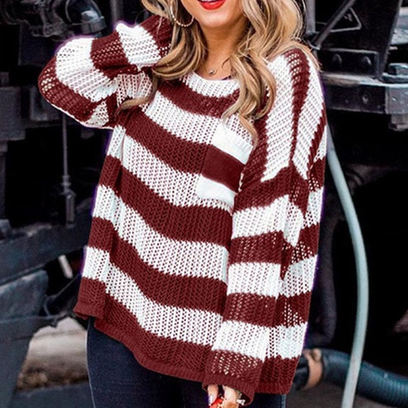 Loose Pocket Decorated Striped Sweater