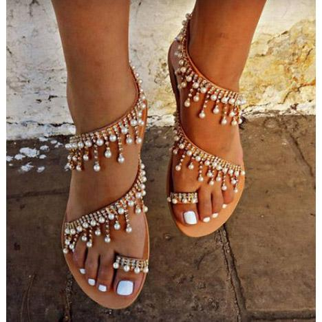 Pearl Thong Pure Color Flat Ankle Strap Women Beach Sandals