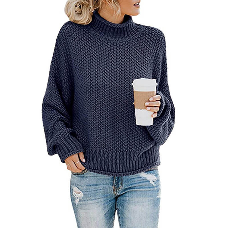 Turtleneck Textured Cozy Women Sweater