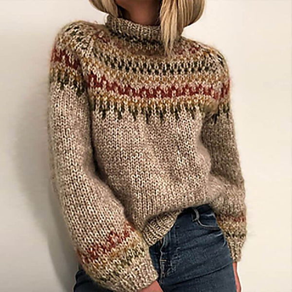 Mock Neck Khaki Thick Sweater
