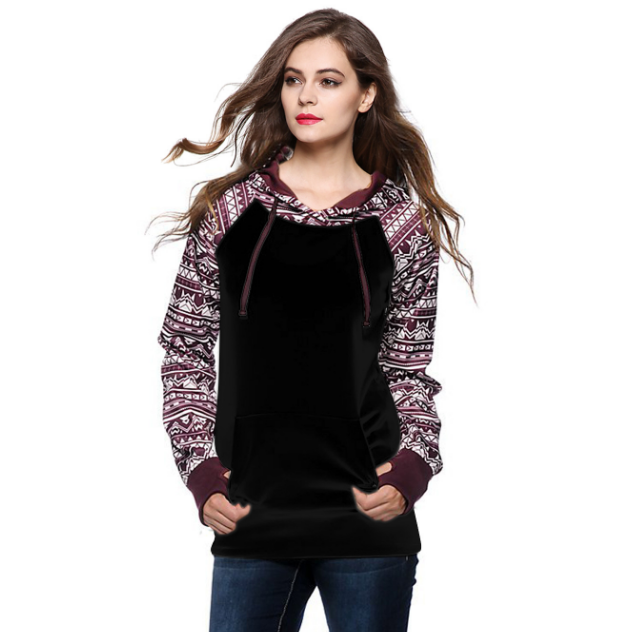 Print Pullover Hooded Pocket Splicing Long Sleeves Hoodie - Oh Yours Fashion - 1
