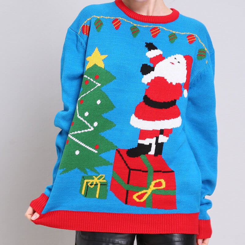 Santa Knitted Christmas Pullover Sweater