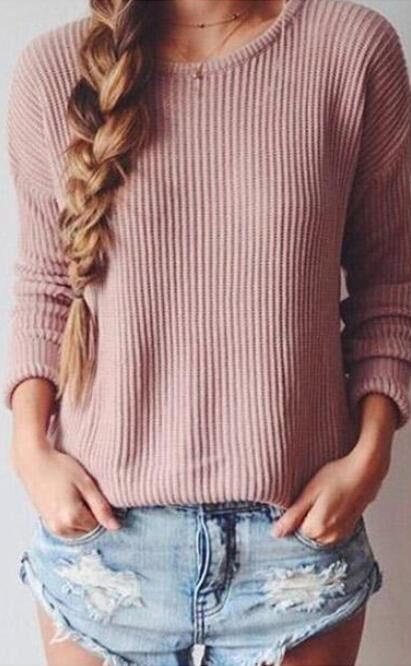 Long-Sleeved Round Collar Pure Color Loose Sweater - Oh Yours Fashion - 2