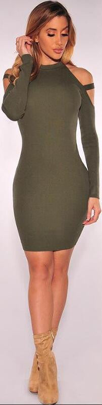Dew Shoulder Long Sleeves Short Bodycon Dress - Oh Yours Fashion - 2