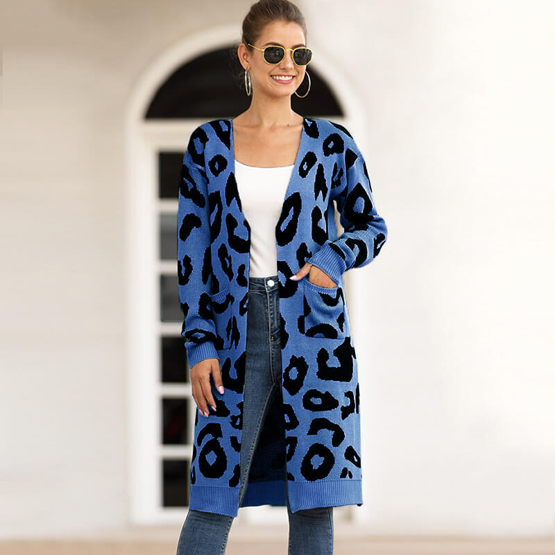 Leopard Print Oversized Cardigan Sweater