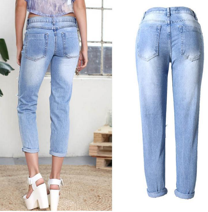 Holes Ripped Straight Slim Beggar Plus Size Jeans - Meet Yours Fashion - 5